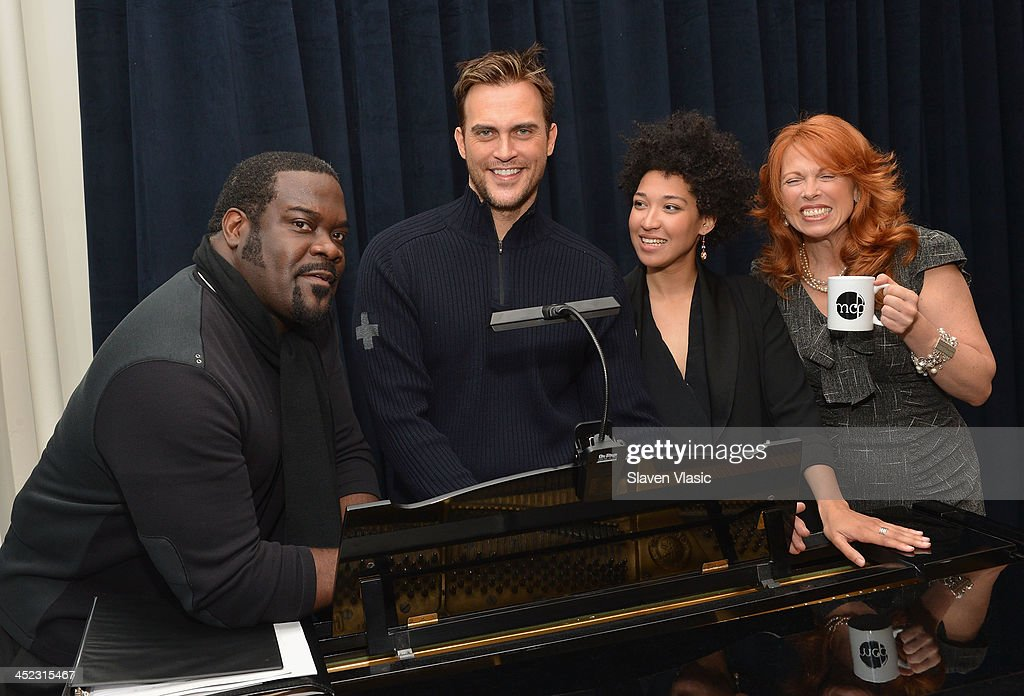 Actors Phillip Boykin, Cheyenne Jackson, Julia Bullock and Carolee Carmello attend press launch of Broadway Classics at Carnegie Hall at Manhattan Concert Productions Studio on November 27, 2013 in New York City.