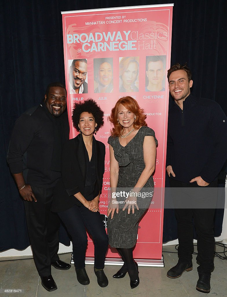 Actors Phillip Boykin, Julia Bullock, Carolee Carmello and Cheyenne Jackson attend press launch of Broadway Classics at Carnegie Hall at Manhattan Concert Productions Studio on November 27, 2013 in New York City.