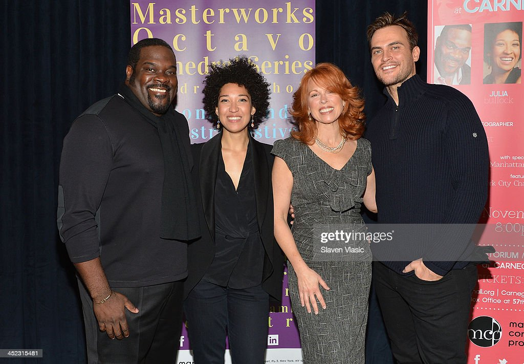 Actors Phillip Boykin, Julia Bullock, <a gi-track='captionPersonalityLinkClicked' href=/galleries/search?phrase=Carolee+Carmello&family=editorial&specificpeople=669709 ng-click='$event.stopPropagation()'>Carolee Carmello</a> and <a gi-track='captionPersonalityLinkClicked' href=/galleries/search?phrase=Cheyenne+Jackson&family=editorial&specificpeople=216481 ng-click='$event.stopPropagation()'>Cheyenne Jackson</a> attend press launch of Broadway Classics at Carnegie Hall at Manhattan Concert Productions Studio on November 27, 2013 in New York City.