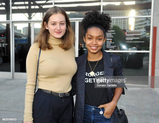 Actors Phoebe Nance and Yara Shahidi attend MOCA's Leadership Circle and Members' Opening of 'Carl Andre Sculpture as Place 19582010' and 'Arthur...