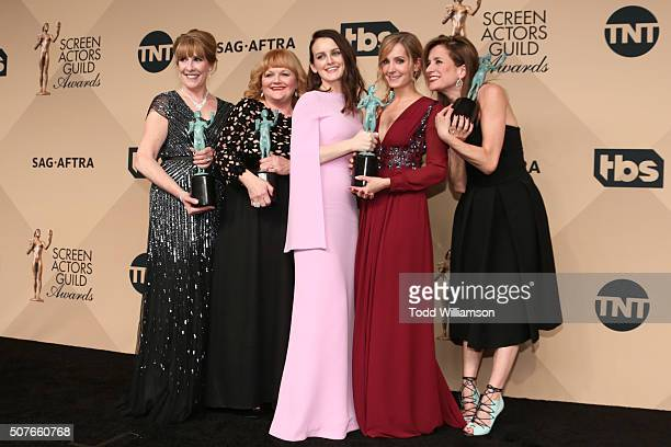 Actors Phyllis Logan Lesley Nicol Sophie McShera Joanne Froggatt and Raquel Cassidy winners for Outstanding Performance By an Ensemble in a Drama...