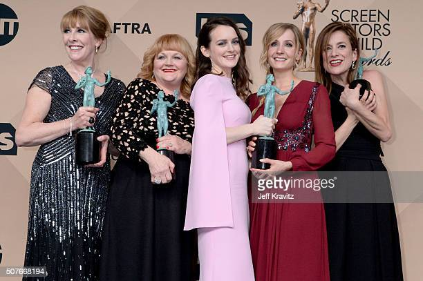 Actors Phyllis Logan Lesley Nicol Sophie McShera Joanne Froggatt and Raquel Cassidy winners for the Outstanding Performance By an Ensemble in a Drama...