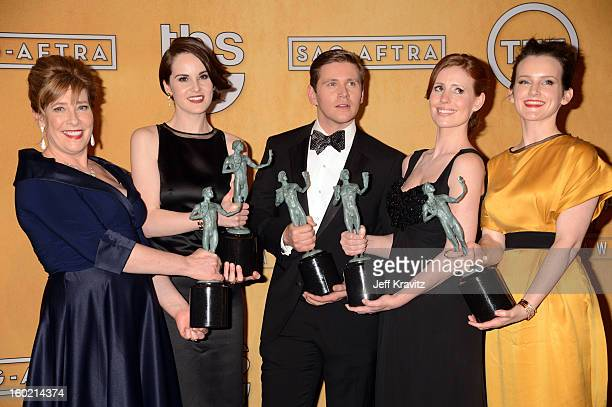 Actors Phyllis Logan Michelle Dockery Allen Leech Amy Nuttall and Sophie McShera pose in the press room during the 19th Annual Screen Actors Guild...