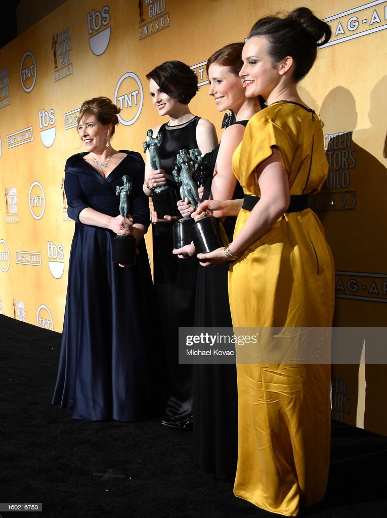Actors Phyllis Logan, <a gi-track='captionPersonalityLinkClicked' href=/galleries/search?phrase=Michelle+Dockery&family=editorial&specificpeople=4047702 ng-click='$event.stopPropagation()'>Michelle Dockery</a>, <a gi-track='captionPersonalityLinkClicked' href=/galleries/search?phrase=Allen+Leech&family=editorial&specificpeople=2167022 ng-click='$event.stopPropagation()'>Allen Leech</a>, Amy Nuttall, and Sophie McShera, winners of Outstanding Performance by an Ensemble in a Drama Series for 'Downton Abbey,' backstage during the 19th Annual Screen Actors Guild Awards at The Shrine Auditorium on January 27, 2013 in Los Angeles, California. (Photo by Michael Kovac/WireImage) 23116_026_1176.JPG