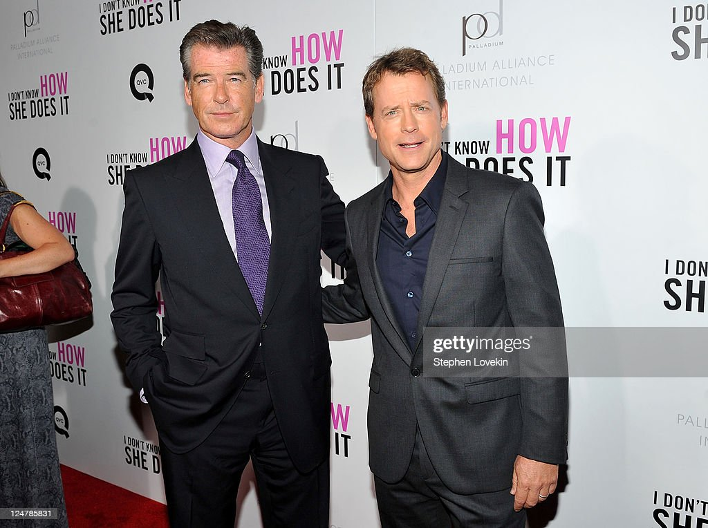 Actors Pierce Brosnan and Greg Kinnear attend the premiere of The Weinstein Company's 'I Don't Know How She Does It' sponsored by QVC Palladium...
