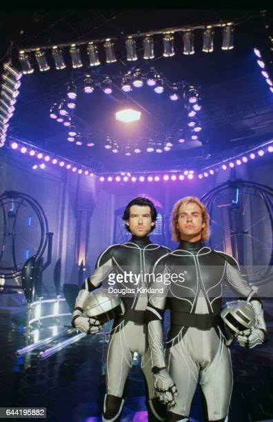 Actors Pierce Brosnan and Jeff Fahey wear virtual reality suits on the set of The Lawnmower Man