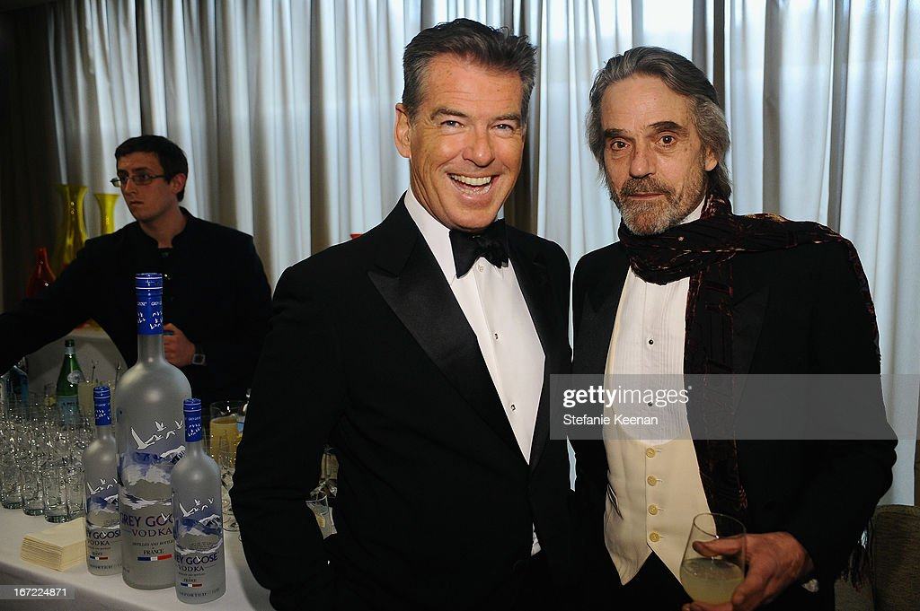 Actors <a gi-track='captionPersonalityLinkClicked' href=/galleries/search?phrase=Pierce+Brosnan&family=editorial&specificpeople=194774 ng-click='$event.stopPropagation()'>Pierce Brosnan</a> and <a gi-track='captionPersonalityLinkClicked' href=/galleries/search?phrase=Jeremy+Irons&family=editorial&specificpeople=203309 ng-click='$event.stopPropagation()'>Jeremy Irons</a> attend the Grey Goose cocktail reception of The Film Society of Lincoln Center's 40th Chaplin Award Gala at Avery Fisher Hall, Lincoln Center on April 22, 2013 in New York City.