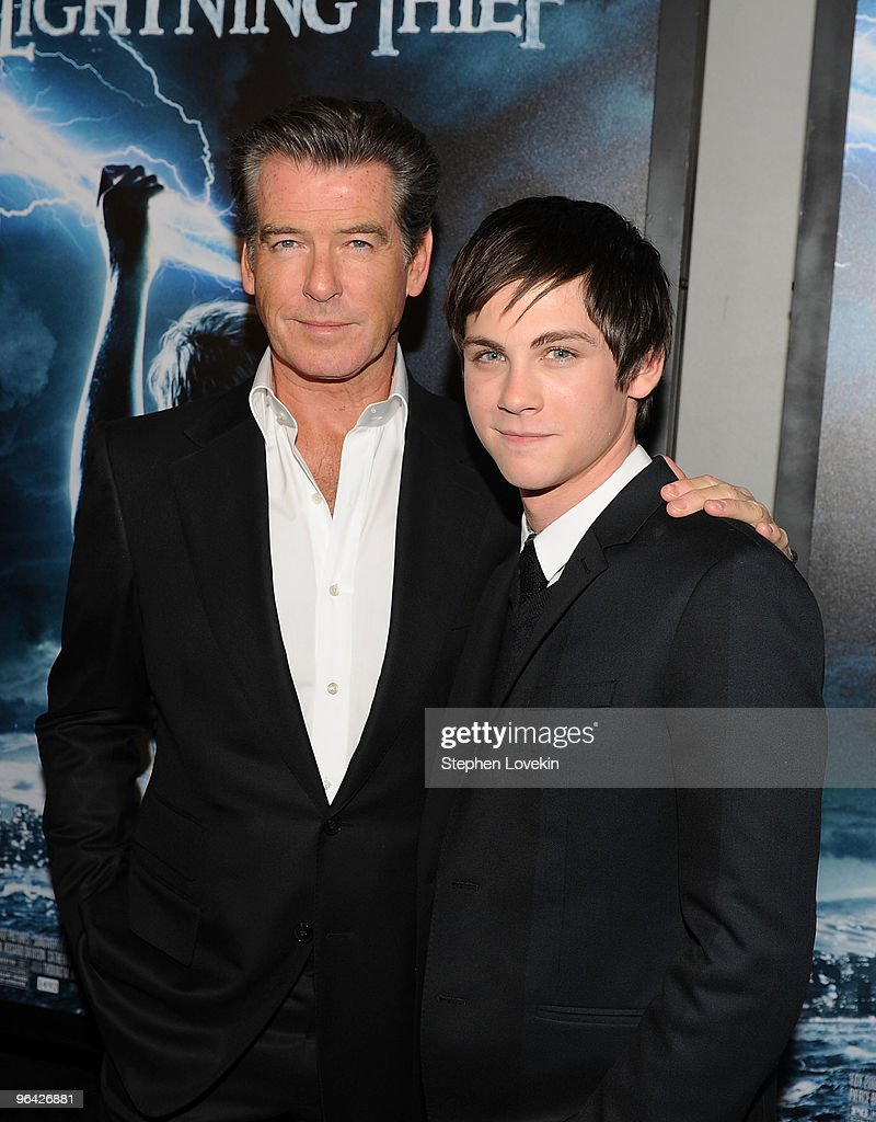 Actors Pierce Brosnan and Logan Lerman attend the premiere of 'Percy Jackson The Olympians The Lightning Thief' at AMC Lincoln Square 13 on February...