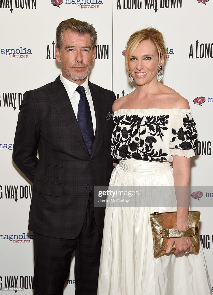 Actors <a gi-track='captionPersonalityLinkClicked' href=/galleries/search?phrase=Pierce+Brosnan&family=editorial&specificpeople=194774 ng-click='$event.stopPropagation()'>Pierce Brosnan</a> (L) and <a gi-track='captionPersonalityLinkClicked' href=/galleries/search?phrase=Toni+Collette&family=editorial&specificpeople=204673 ng-click='$event.stopPropagation()'>Toni Collette</a> attend 'A Long Way Down' New York premiere at City Cinemas 123 on June 30, 2014 in New York City.