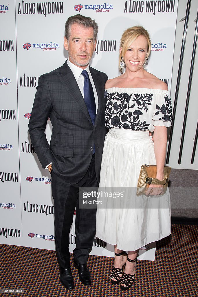 Actors <a gi-track='captionPersonalityLinkClicked' href=/galleries/search?phrase=Pierce+Brosnan&family=editorial&specificpeople=194774 ng-click='$event.stopPropagation()'>Pierce Brosnan</a> (L) and <a gi-track='captionPersonalityLinkClicked' href=/galleries/search?phrase=Toni+Collette&family=editorial&specificpeople=204673 ng-click='$event.stopPropagation()'>Toni Collette</a> attend the 'A Long Way Down' New York premiere at City Cinemas 123 on June 30, 2014 in New York City.