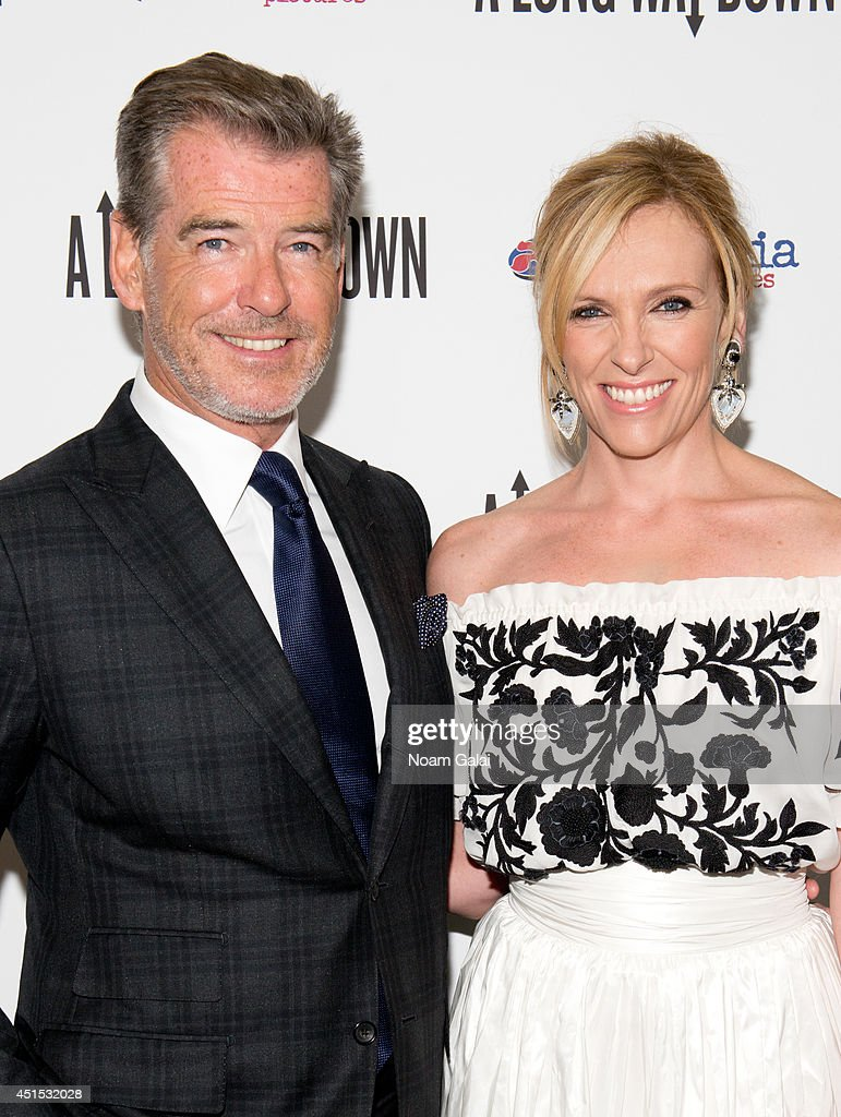 Actors <a gi-track='captionPersonalityLinkClicked' href=/galleries/search?phrase=Pierce+Brosnan&family=editorial&specificpeople=194774 ng-click='$event.stopPropagation()'>Pierce Brosnan</a> and <a gi-track='captionPersonalityLinkClicked' href=/galleries/search?phrase=Toni+Collette&family=editorial&specificpeople=204673 ng-click='$event.stopPropagation()'>Toni Collette</a> attend the 'A Long Way Down' New York Premiere at City Cinemas 123 on June 30, 2014 in New York City.
