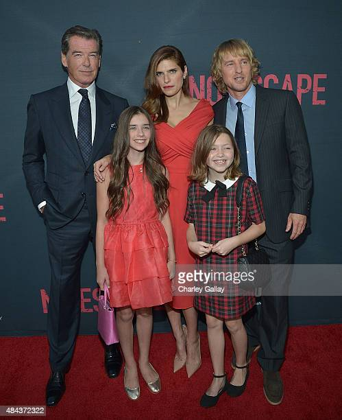 Actors Pierce Brosnan Lake Bell Owen WilsonSterling Jerins and Claire Geare attend the premiere of the Weinstein Company's 'No Escape' in Partnership...