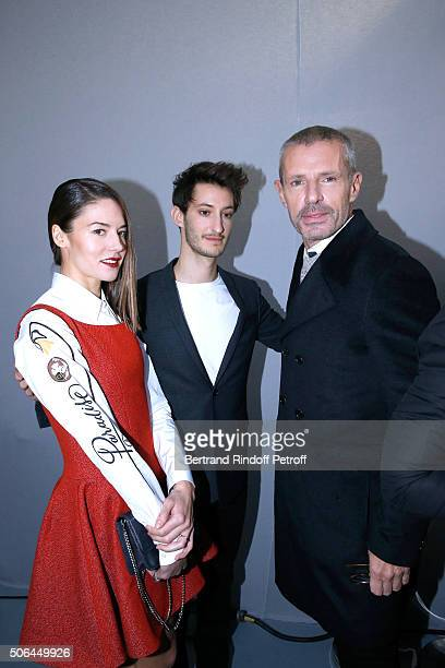 Actors Pierre Niney Natasha Andrews and Lambert Wilson pose Backstage after the Dior Homme Menswear Fall/Winter 20162017 show as part of Paris...