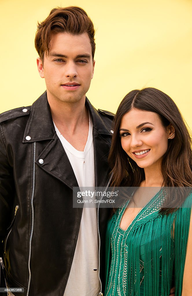 Actors Pierson Fode and Victoria Justice pose for a portrait during the 2015 Teen Choice Awards FOX Portrait Studio at Galen Center on August 16 2015...