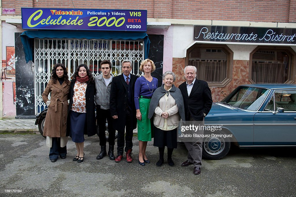 Actors Pilar Punzano, Ana Arias, Ricardo Gomez, Imanol Arias, Ana Duato, Maria Galiana and Juan Echanove attend 'Cuentame Como Paso' 14th Season presentation at Estudios Grupo Ganga on January 9, 2013 in Pinto, Spain.