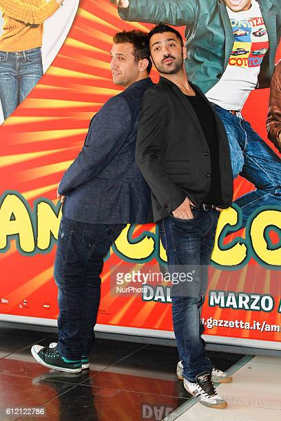 actors Pio D'Antini and Amedeo Grieco attends 'Friends as we' photocall in Rome Cinema Adriano