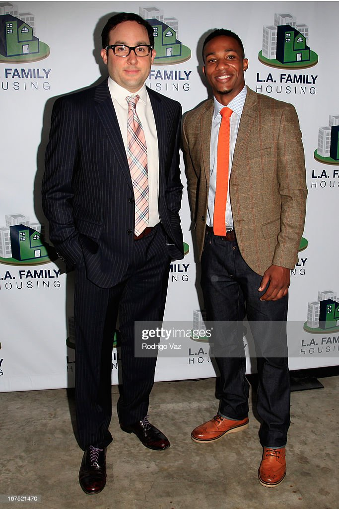 Actors PJ Byrne (L) and <a gi-track='captionPersonalityLinkClicked' href=/galleries/search?phrase=Arlen+Escarpeta&family=editorial&specificpeople=223910 ng-click='$event.stopPropagation()'>Arlen Escarpeta</a> arrive at the L.A. Family Housing Awards 2013 at Book Bindery on April 25, 2013 in Culver City, California.