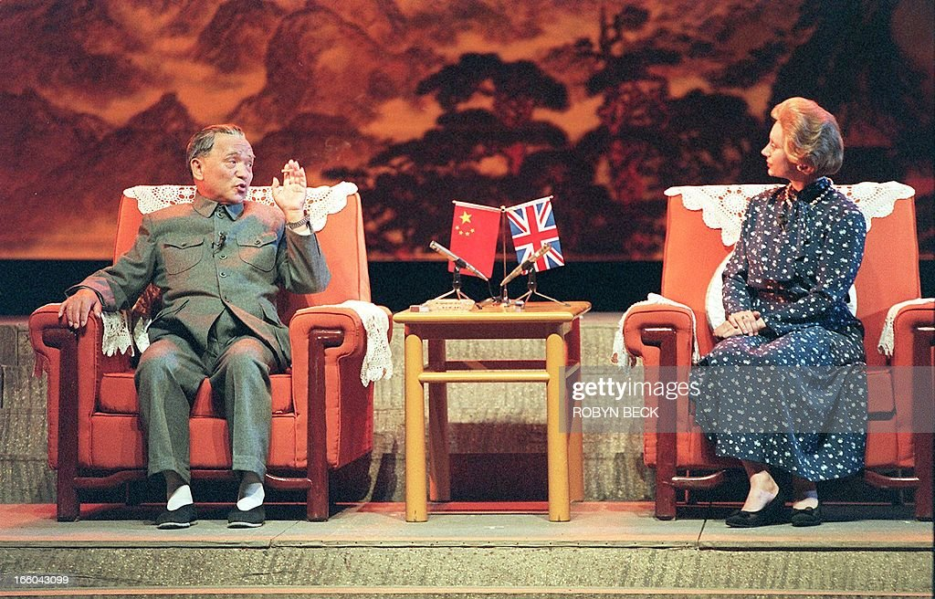 Actors playing the late Chinese patriarch Deng Xiaoping and the former British Prime Minister Margaret Thatcher hold talks on the future of Hong Kong...