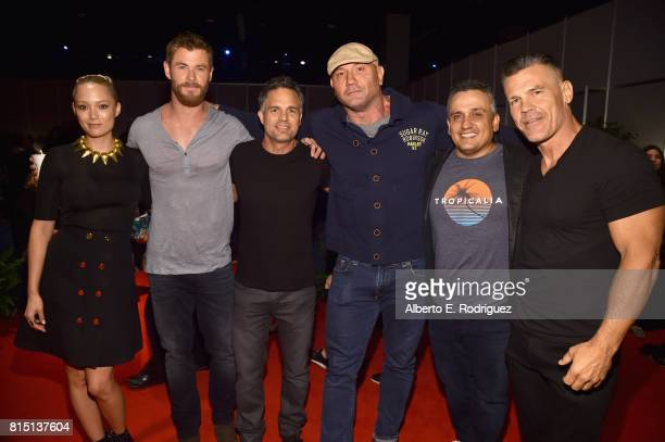 Actors Pom Klementieff Chris Hemsworth Mark Ruffalo and Dave Bautista director Joe Russo and actor Josh Brolin of AVENGERS INFINITY WAR took part...