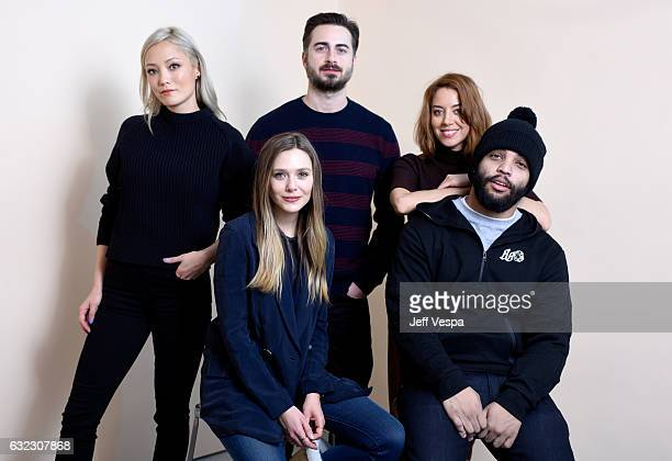 Actors Pom Klementieff Elizabeth Olsen filmmaker Matt Spicer and actors Aubrey Plaza and O'Shea Jackson Jr from the film 'Ingrid Goes West' pose for...