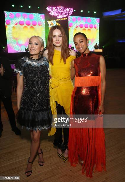 "Actors Pom Klementieff Karen Gillan and Zoe Saldana at The World Premiere of Marvel Studios' ""Guardians of the Galaxy Vol 2"" at Dolby Theatre in..."