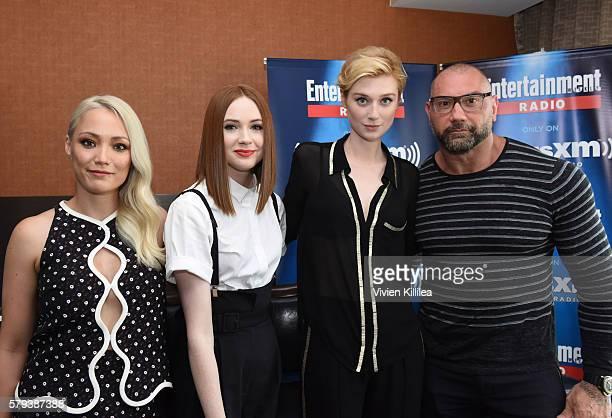 Actors Pom Klementieff Karen Gillan Elizabeth Debicki and Dave Bautista attend SiriusXM's Entertainment Weekly Radio Channel Broadcasts From ComicCon...