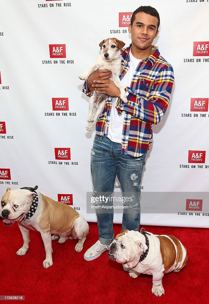 Actors Popeye, Uggie, Jacob Artist and Julio attend Abercrombie & Fitch's presentation of their 2013 Stars on the Rise at The Grove on July 11, 2013 in Los Angeles, California.