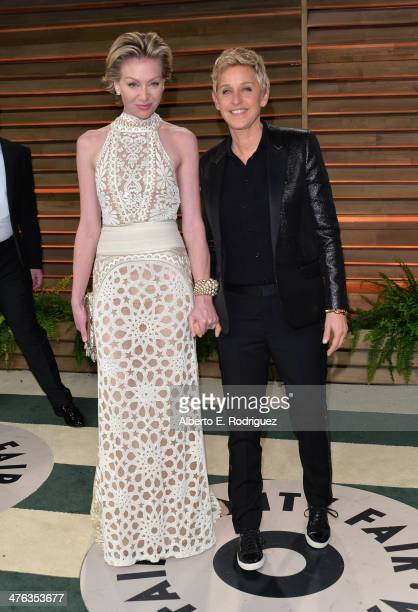 Actors Portia de Rossi and Ellen DeGeneres attends the 2014 Vanity Fair Oscar Party hosted by Graydon Carter on March 2 2014 in West Hollywood...