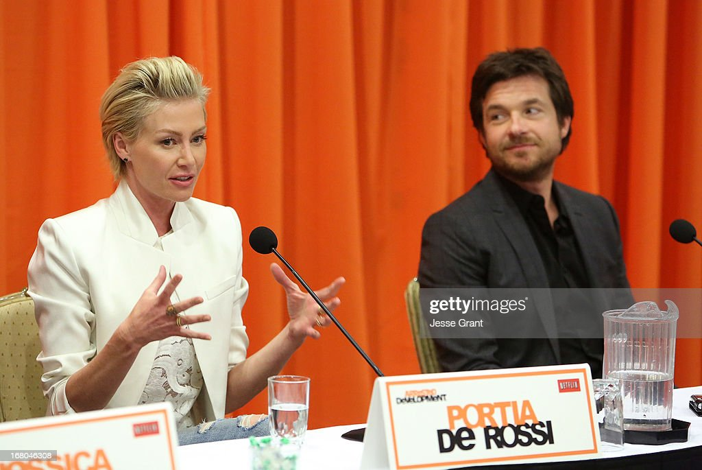 Actors <a gi-track='captionPersonalityLinkClicked' href=/galleries/search?phrase=Portia+de+Rossi&family=editorial&specificpeople=204197 ng-click='$event.stopPropagation()'>Portia de Rossi</a> and <a gi-track='captionPersonalityLinkClicked' href=/galleries/search?phrase=Jason+Bateman&family=editorial&specificpeople=204774 ng-click='$event.stopPropagation()'>Jason Bateman</a> attend The Netflix Original Series 'Arrested Development' Press Conference at Sheraton Universal on May 4, 2013 in Universal City, California.