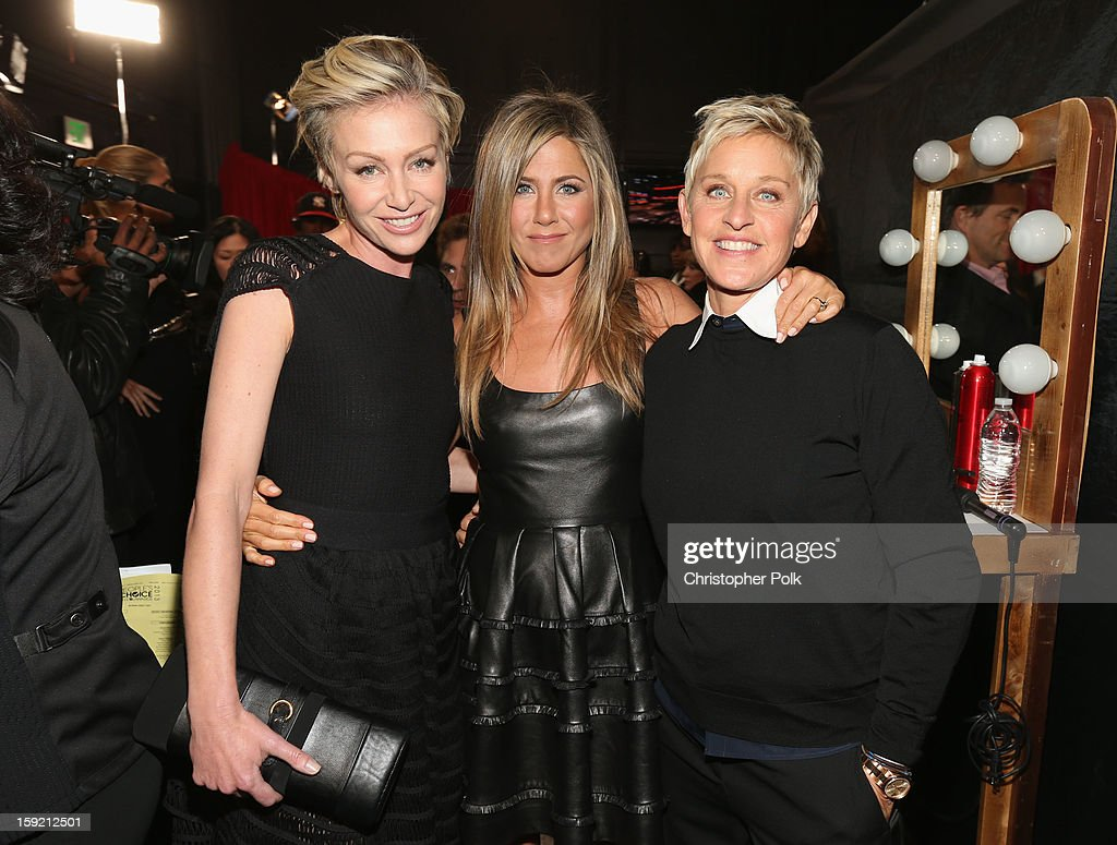 Actors Portia de Rossi and <a gi-track='captionPersonalityLinkClicked' href=/galleries/search?phrase=Jennifer+Aniston&family=editorial&specificpeople=202048 ng-click='$event.stopPropagation()'>Jennifer Aniston</a> and tv personality Ellen DeGeneres attend the 39th Annual People's Choice Awards at Nokia Theatre L.A. Live on January 9, 2013 in Los Angeles, California.