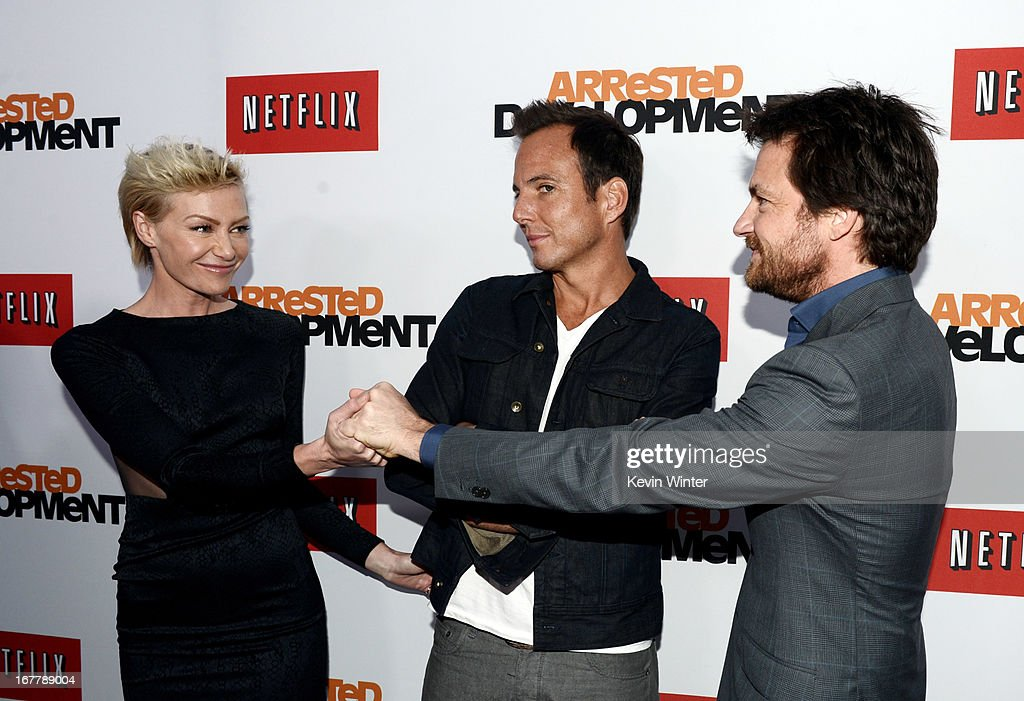 Actors <a gi-track='captionPersonalityLinkClicked' href=/galleries/search?phrase=Portia+de+Rossi&family=editorial&specificpeople=204197 ng-click='$event.stopPropagation()'>Portia de Rossi</a>, <a gi-track='captionPersonalityLinkClicked' href=/galleries/search?phrase=Will+Arnett&family=editorial&specificpeople=209259 ng-click='$event.stopPropagation()'>Will Arnett</a> and <a gi-track='captionPersonalityLinkClicked' href=/galleries/search?phrase=Jason+Bateman&family=editorial&specificpeople=204774 ng-click='$event.stopPropagation()'>Jason Bateman</a> arrive at the premiere of Netflix's 'Arrested Development' Season 4 at the Chinese Theatre on April 29, 2013 in Los Angeles, California.