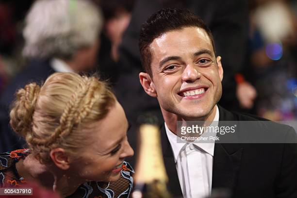 Actors Portia Doubleday and Rami Malek attend the 21st Annual Critics' Choice Awards at Barker Hangar on January 17 2016 in Santa Monica California