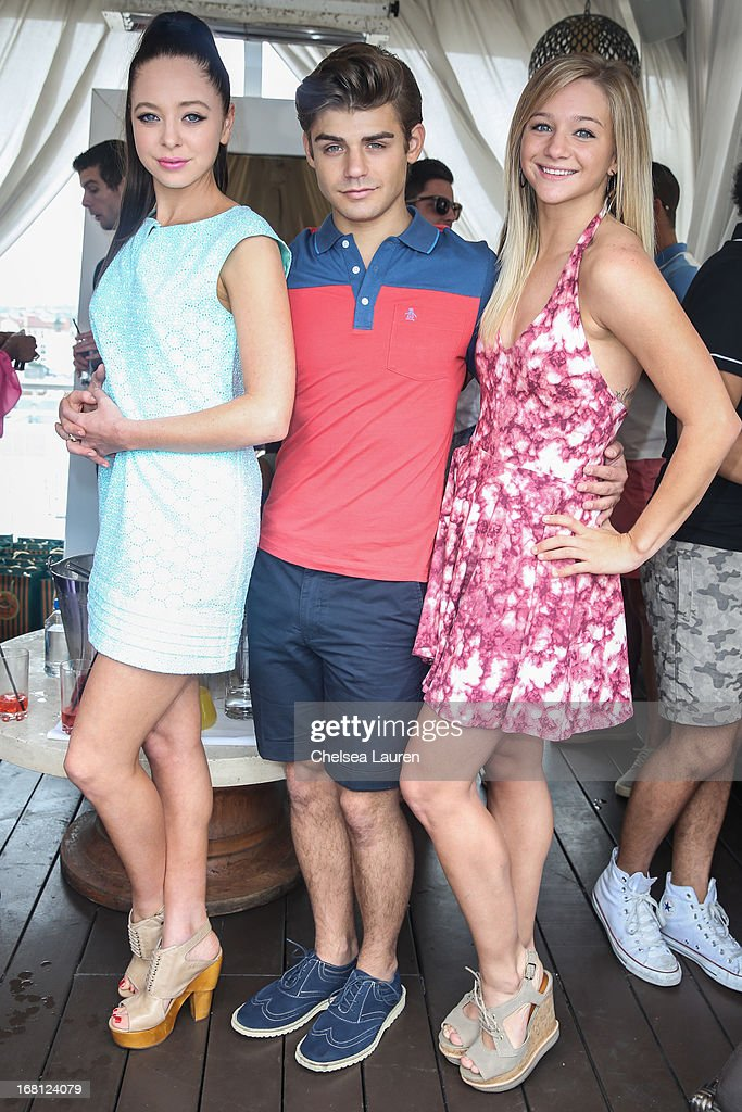 Actors <a gi-track='captionPersonalityLinkClicked' href=/galleries/search?phrase=Portia+Doubleday&family=editorial&specificpeople=5850991 ng-click='$event.stopPropagation()'>Portia Doubleday</a>, Garrett Clayton and Mollee Gray attend the Original Penguin summer collection launch event at Drai's Hollywood on May 5, 2013 in Hollywood, California.