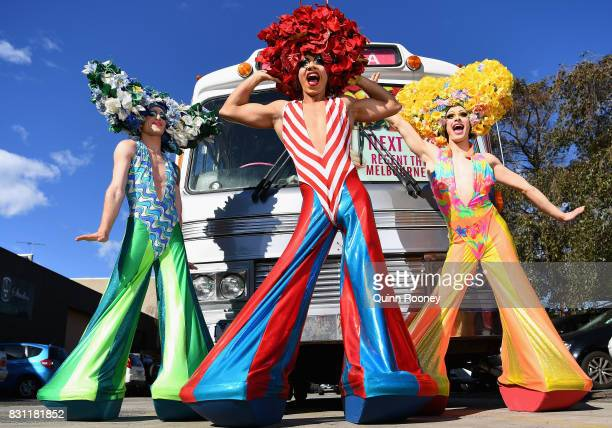 Actors pose infront of the Priscilla bus on August 14 2017 in Melbourne Australia The original Priscilla bus has returned to Melbourne for the first...