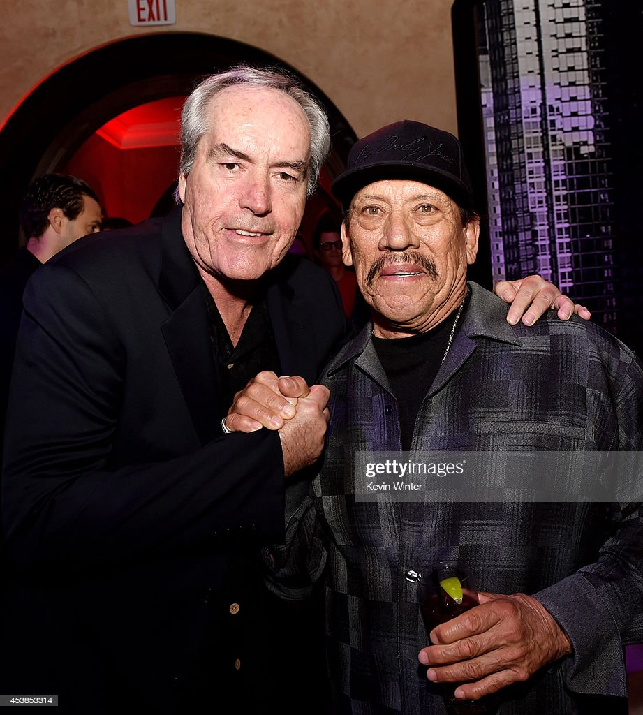 Actors Powers Booth (L) and Danny Trejo pose at the after party for the premiere of Dimension Films' 'Sin City: A Dame To Kill For' at the Roosevelt Hotel on August 19, 2014 in Los Angeles, California.