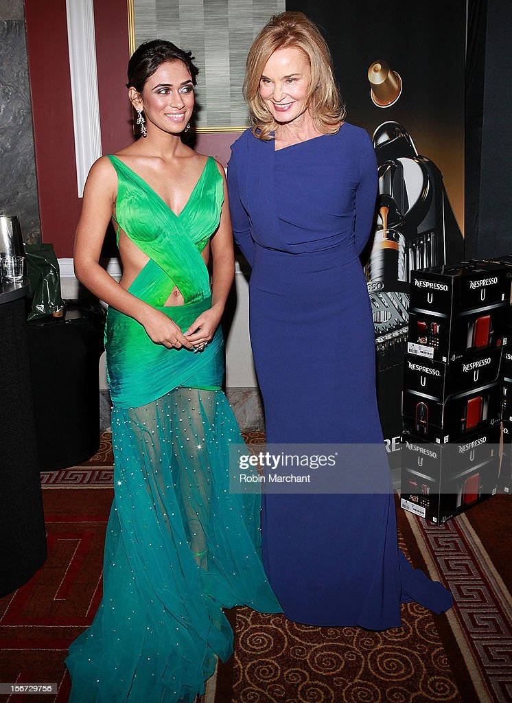 Actors Prerna Wanvari (L) and <a gi-track='captionPersonalityLinkClicked' href=/galleries/search?phrase=Jessica+Lange&family=editorial&specificpeople=203310 ng-click='$event.stopPropagation()'>Jessica Lange</a> attend the 40th International Emmy Awards on November 19, 2012 in New York City.