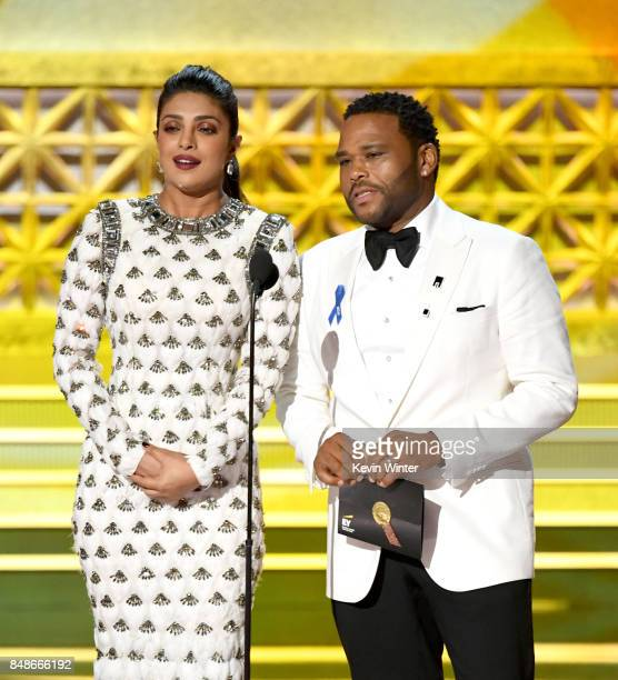 Actors Priyanka Chopra and Anthony Anderson speak onstage during the 69th Annual Primetime Emmy Awards at Microsoft Theater on September 17 2017 in...