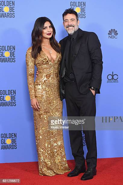 Actors Priyanka Chopra and Jeffrey Dean Morgan pose in the press room during the 74th Annual Golden Globe Awards at The Beverly Hilton Hotel on...