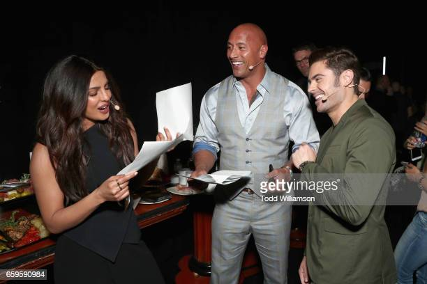 Actors Priyanka Chopra Dwayne Johnson and Zac Efron at CinemaCon 2017 Paramount Pictures Presentation Highlighting Its Summer of 2017 and Beyond at...