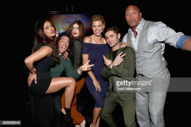 Actors Priyanka Chopra Jon Bass Alexandra Daddario Kelly Rohrbach Zac Efron and Dwayne Johnson at CinemaCon 2017 Paramount Pictures Presentation...