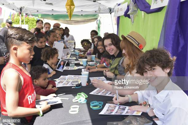 Actors Prophet Bolden Jaheem Toombs Lilimar Laya Deleon Hayes Dalton Cyr Serena Laurel and Jax Malcolm sign autographs at 17th Annual Children's...