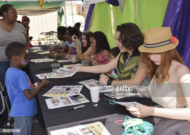 Actors Prophet Bolden Jaheem Toombs Lilimar Laya Deleon Hayes Evan Kishiyama Dalton Cyr and Serena Laurel sign autographs at 17th Annual Children's...