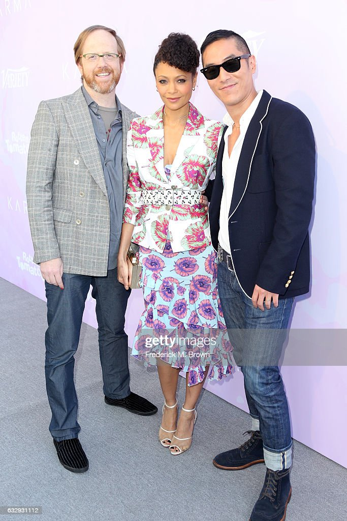 Actors Ptolemy Slocum, Thandie Newton, and Leonardo Nam attend Variety's Celebratory Brunch Event For Awards Nominees, benefitting Motion Picture Television Fund, at Cecconi's on January 28, 2017 in West Hollywood, California.