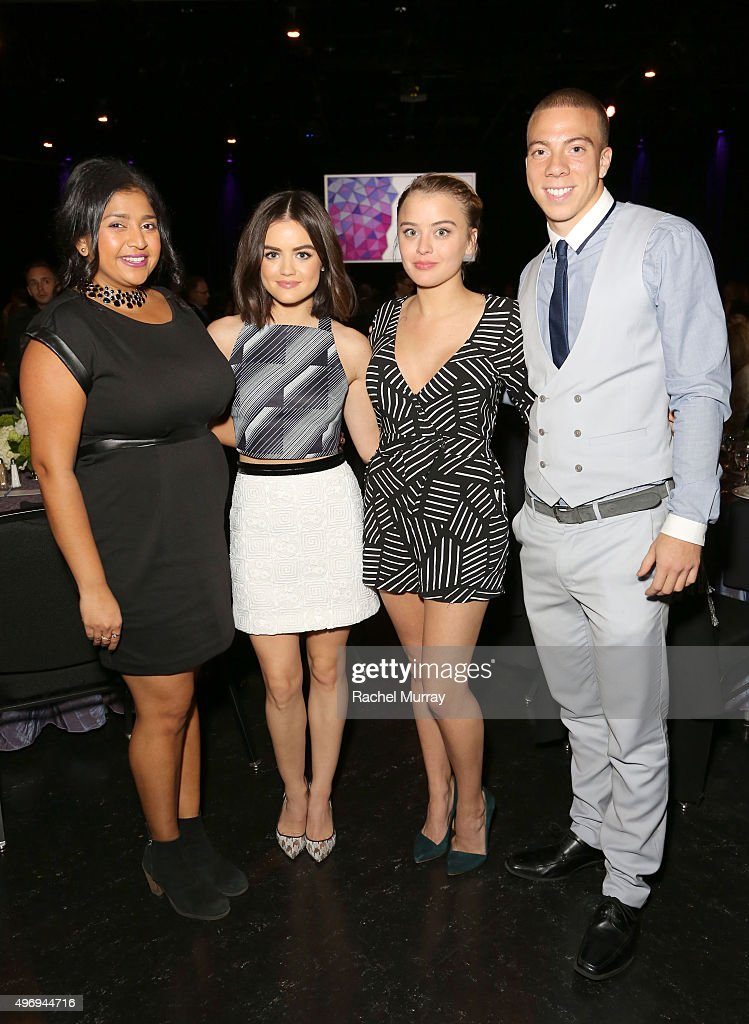 Actors Punam Patel Lucy Hale Jordan Hinson and Matt Murray attend the Zimmer Children's Museum Discovery Award Dinner at The Globe Theatre on...