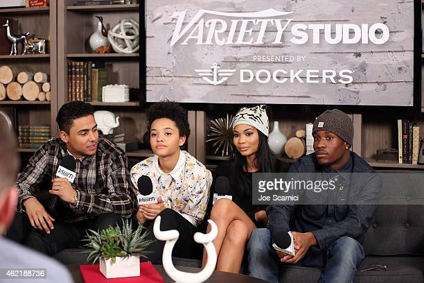 Actors Quincy Brown Kiersey Clemons Chanel Iman and Shameik Moore speak at The Variety Studio At Sundance Presented By Dockers on January 25 2015 in...