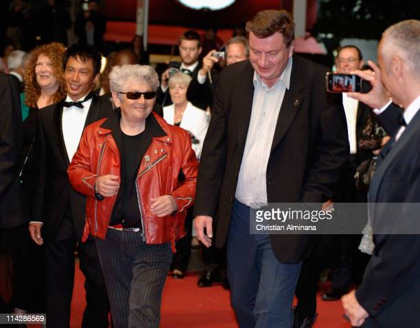 Actors Quoc DungNguyen Little Bob and Director and writer Aki Kaurismaki attend the 'La Havre' Premiere at the Palais des Festivals during the 64th...