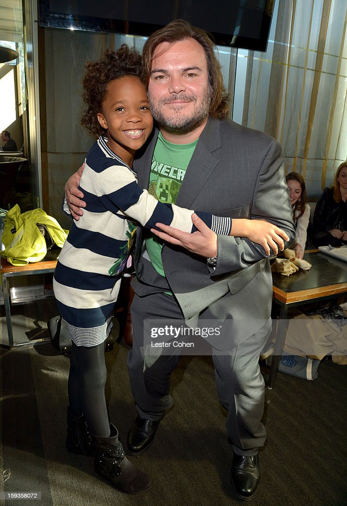 Actors Quvenzhane Wallis and <a gi-track='captionPersonalityLinkClicked' href=/galleries/search?phrase=Jack+Black&family=editorial&specificpeople=171453 ng-click='$event.stopPropagation()'>Jack Black</a> attend the Film Independent Filmmaker Grant And Spirit Awards Nominees Brunch at BOA Steakhouse on January 12, 2013 in West Hollywood, California.