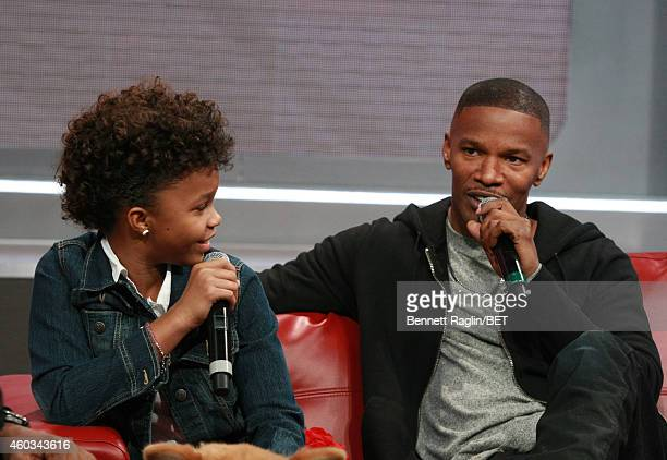 Actors Quvenzhane Wallis and Jamie Foxx attend 106 Park at BET studio on December 11 2014 in New York City