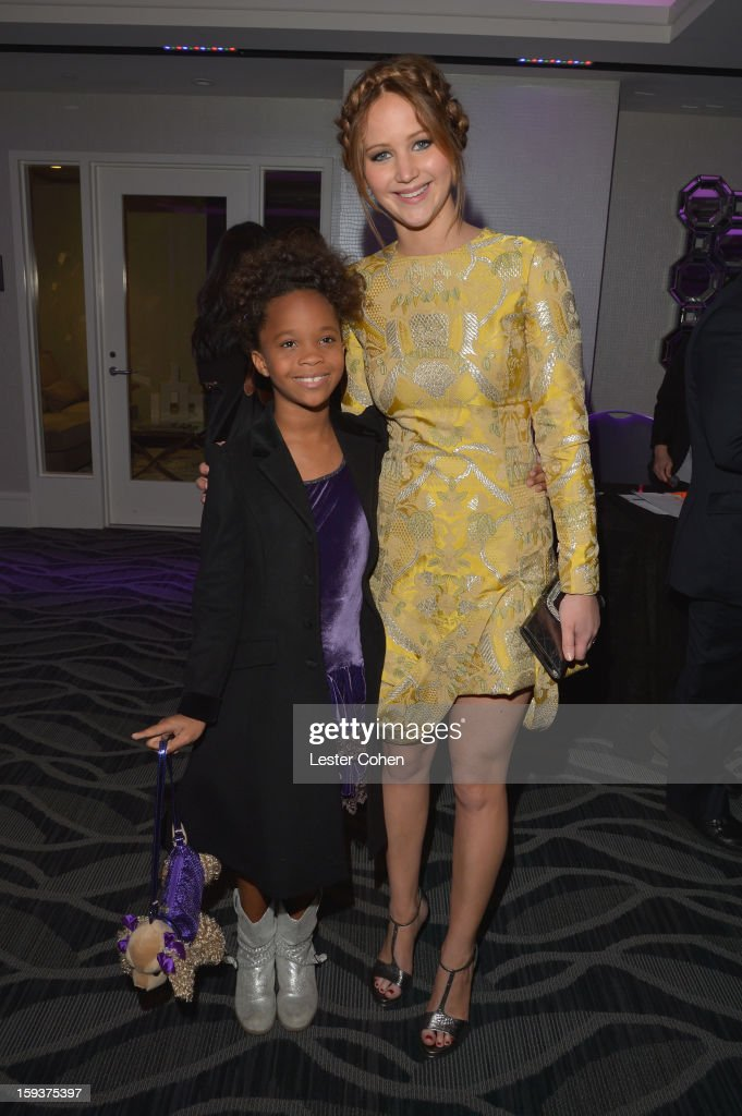 Actors Quvenzhane Wallis and <a gi-track='captionPersonalityLinkClicked' href=/galleries/search?phrase=Jennifer+Lawrence&family=editorial&specificpeople=1596040 ng-click='$event.stopPropagation()'>Jennifer Lawrence</a> attend the 38th Annual Los Angeles Film Critics Association Awards at InterContinental Hotel on January 12, 2013 in Century City, California.