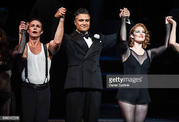 Actors R Lowe Jaime Camil and Dylis Croman onstage for the curtain call of 'Chicago' on Broadway at Ambassador Theatre on May 31 2016 in New York City